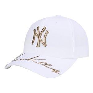 MLB NY Yankees White Cap with Gold Stitching NEW